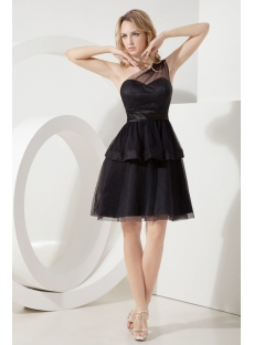 Black One Shoulder Juniors Formal Dresses