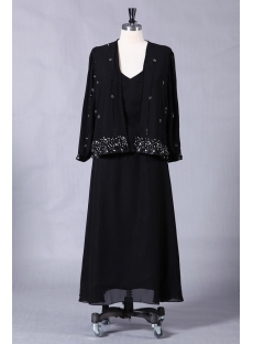 Black Plus Size Long Mother of Bride Gown with Long Sleeves