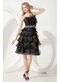 Black Popular Tea Length Junior Prom Dress