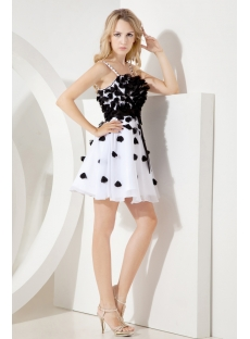 Black and White Sweet Sixteen Gown with Spaghetti Straps