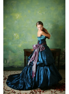 Blue 2013 Gothic Wedding Dresses with Sash