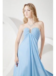 Blue Chiffon Elegant Prom Dress for Plus Size