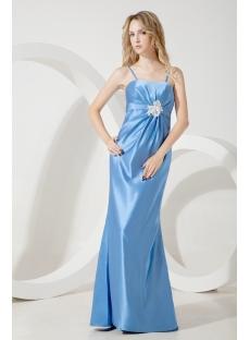 Blue Long Bridesmaid Dress for Plus Size