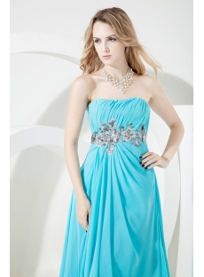 Blue Long Evening Dress for Full Figure
