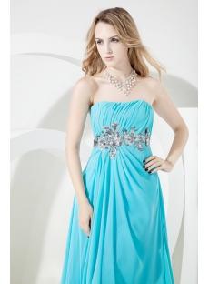Blue Long Evening Dress for Full Figure