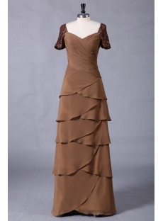 Brown Long Modest Formal Evening Dress with Short Sleeves