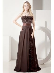 Brown Long Plus Size Mother of Groom Dress