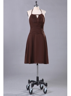 Brown Short Cocktail Dress with Halter Neckline