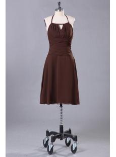 Brown Short Cocktail Dress with Halter Neckline
