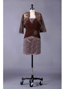 Brown Short Mother of Bride Dress with Jacket