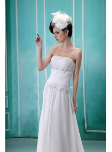 Budget A-Line Strapless Court Train Chiffon Wedding Dress With Ruffle Lace