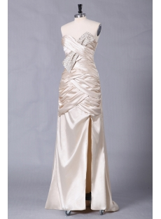 Champagne Formal Evening Dress with Slit