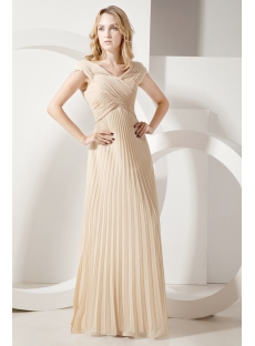 Champagne Pleats Long Mother of Groom Dress for Full Figure