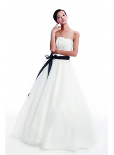 Cheap Simple Wedding Dress with Black Sash