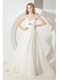 Cheap Spaghetti Straps Simple Beach Bridal Dress