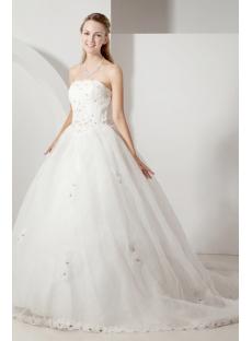 Cheap Strapless Princess Wedding Dress with Corset