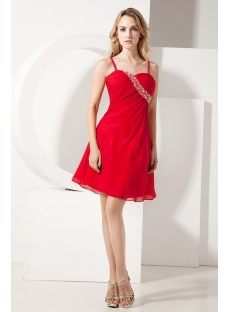 Chiffon Cute Red Mini Homecoming Dress