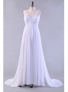 Chiffon V-Neckline Empire Bridal Gowns for Plus Size