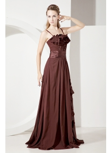 Chocolate Spaghetti Straps Long Mother of Groom Gown