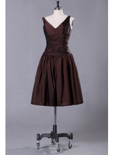 Chocolate Taffeta Junior Prom Dress with V-neckline