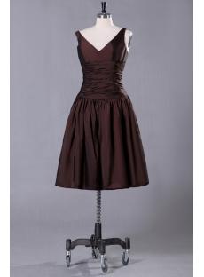 Chocolate Taffeta Junior Prom Dress with V-neckline
