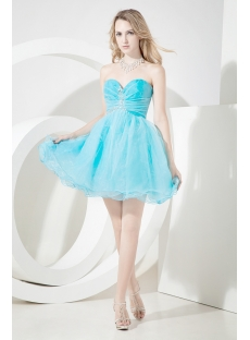 Cute Short Sweet 16 Dresses Aqua Blue