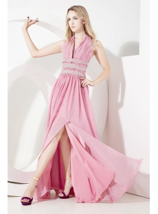 Dusty Rose Plunging Halter Evening Dress with Backless