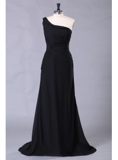 Elegant Black One Shoulder Celebrity Gowns