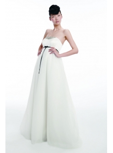 Elegant Organza Empire Bridal Gown with Black