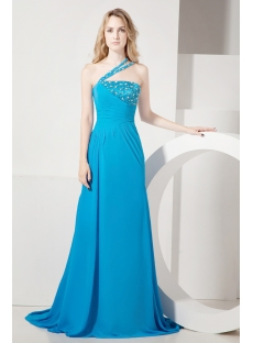 Fashionable Teal Blue One Shoulder Vintage Evening Gown