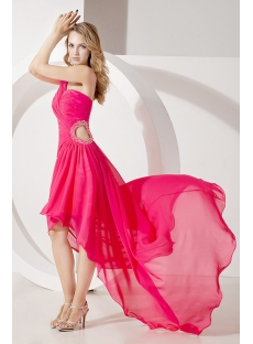Fuchsia High-low Cute Graduation Dress