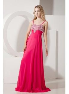 Fuchsia Straps Long Plus Size Party Dress