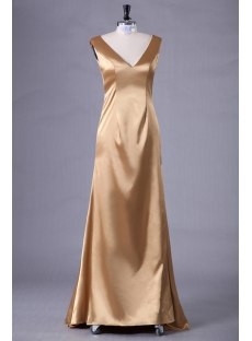 Gold Simple Long Mother of Bride Dress