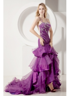 Grape Pretty Mermaid Prom Gown with Backless