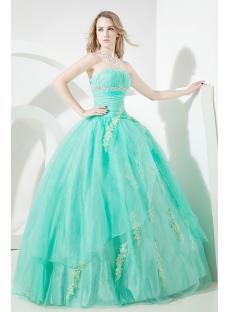 Green Glamorous Puffy Quinceanera Dress 2012