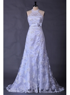 Halter Lace Bridal Gowns with High Neckline