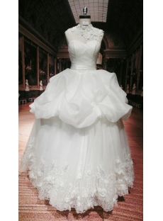 High-neckline Modest Bridal Gown with Open Back