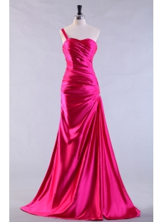 Hot Pink Elegant Sheath 2013 Prom Dress with One Shoulder