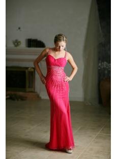 Hot Pink Sequins Celebrity Dress with Slit