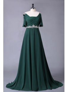 Hunter Green Chiffon Formal Plus Size Evening Dress with Sleeves