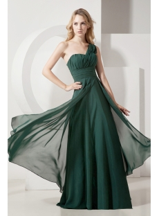 Hunter Green One Shoulder Plus Size Evening Gown