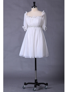 Ivory Chiffon Baby Doll Homecoming Dress with Short Sleeves