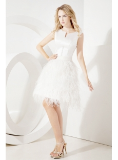 Ivory Modest Short Bridal Gown with Ostrich Feather