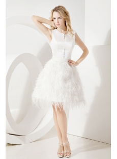 Ivory Modest Short Bridal Gown with Ostrich Feather:1st-dress.com