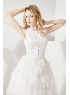 Ivory Modest Short Bridal Gown with Ostrich Feather1st dresscom