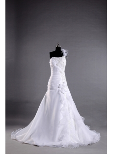 Ivory One Shoulder Beach Bridal Gown with Ostrich Feather