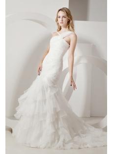 Ivory One Shoulder Mermaid Celtic Wedding Dress