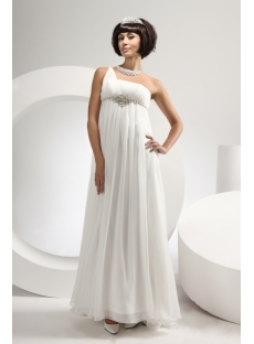 Ivory One Shoulder Summer Beach Bridal Gown