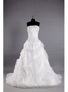 Ivory Organza Western Bridal Gown with Strapless