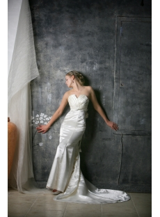Ivory Sheath Long Casual Wedding Dress